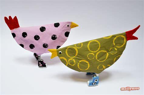 Make Paper Mache Birds - mollymoocrafts leggy birds papier mache hens