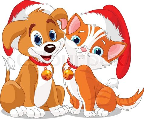 Christmas dog and cat   Stock Vector   Colourbox