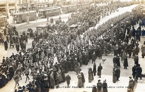Odt St Pandidas Navy streetcars blocked by parade march 18 1916