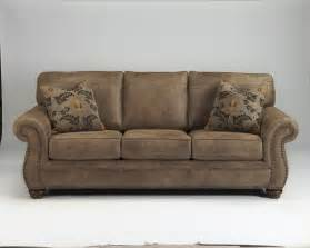 Sectional Fabric Sofas 3190138 Larkinhurst Earth Tone Leather Look Fabric Sofa