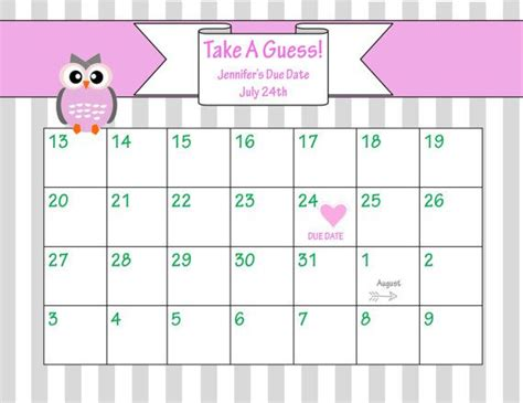 baby shower calendar template 32 best printables for baby images on baby