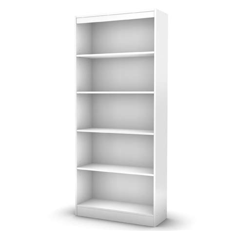 Axess Collection 5 Shelf Bookcase Pure White White Shelves