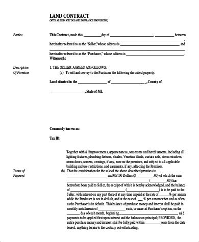9 Sle Land Contract Forms Sle Templates Land Contract Template