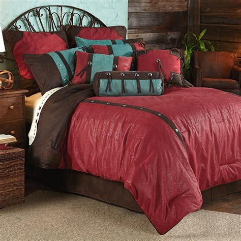 red bed comforter cheyenne faux tooled leather red comforter set super king