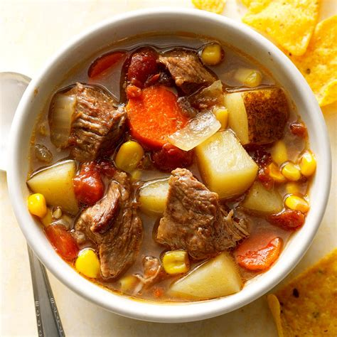 slow cooked mexican beef soup recipe taste  home