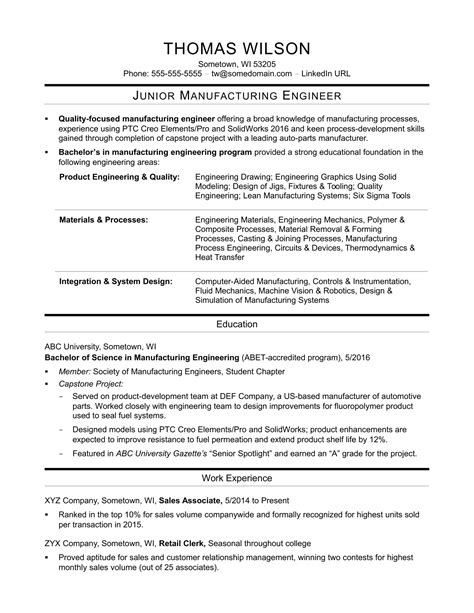 resume sles for production engineer sle resume for an entry level manufacturing engineer