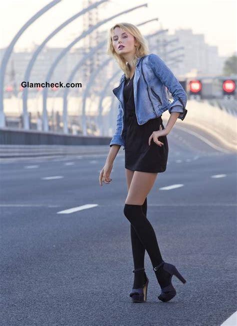 denim jacket   black dress  stockings