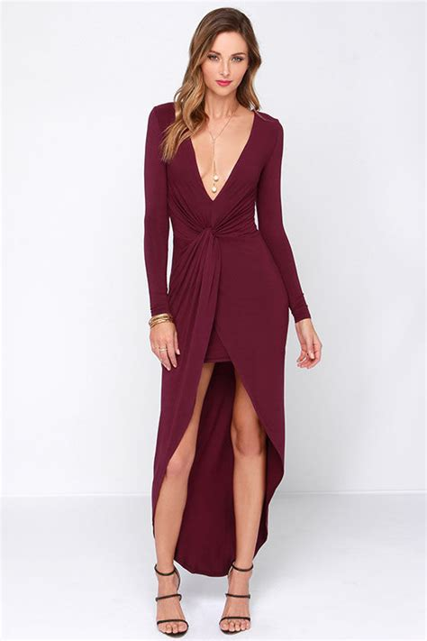 sexy burgundy dress high  dress knotted dress