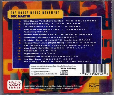 Doc Martin The House Music Movement Cd 1998 House 183 Fresh Produce L A