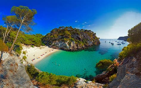 nature landscape beach sea sand spain island trees