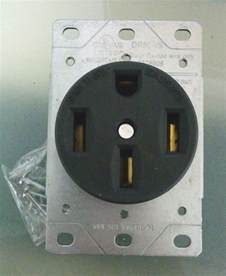 range stove oven outlet receptacle 50a 125 250v black 4 wire flush mount 50 amp ebay