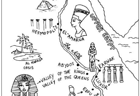 coloring page of egypt map ancient egypt map colouring page school history
