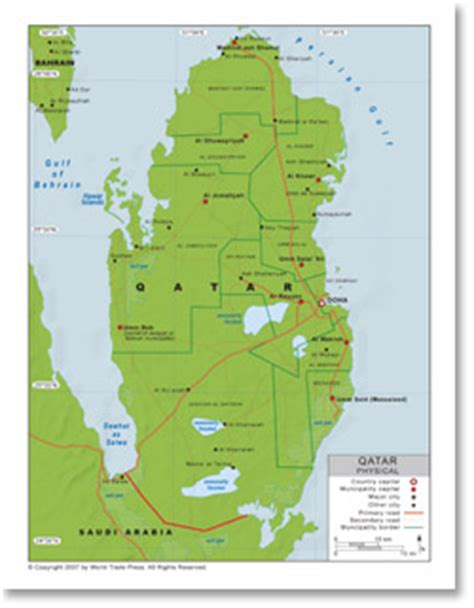 physical map of qatar physical map of qatar