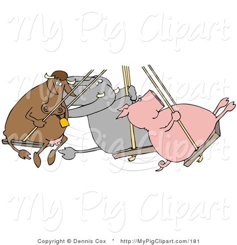 swinging pig swine clipart of a cow elephant and pig swinging together
