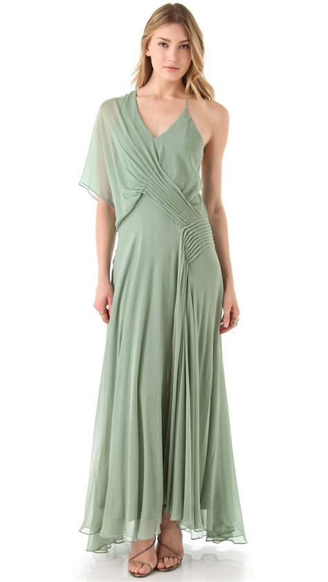 draped gown haute hippie one sleeve draped gown in green mint lyst