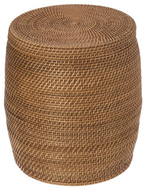 rattan round ottoman round rattan storage stool honey brown contemporary