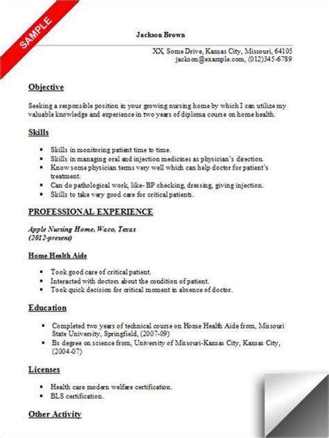 Resume Objective For Aide Resume Home And Home Health On