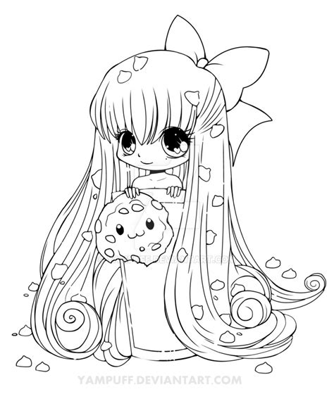chibi fox coloring page chibi cookie line art by yampuff on deviantart