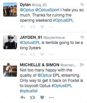 epl twitter optus epl debut match besieged with bugs and freezes user