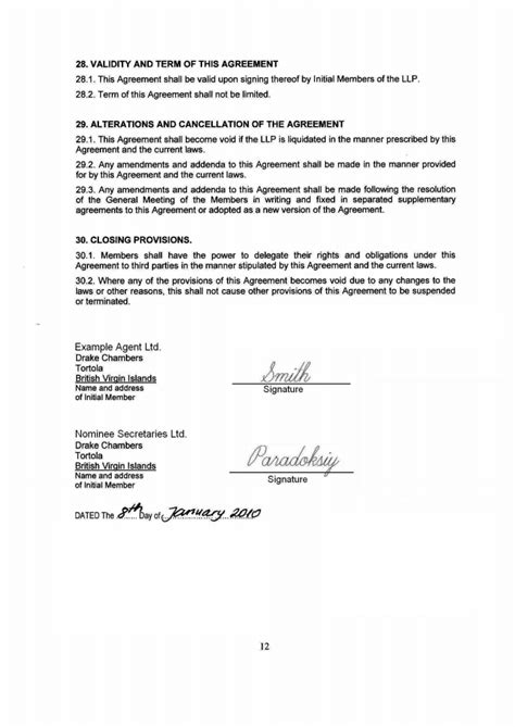 Letter Of Agreement Singapore Pin Partnership Agreement Page On