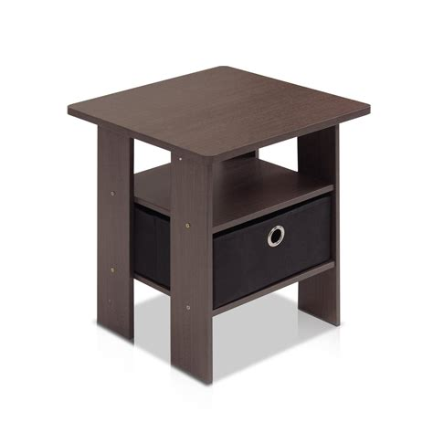 end tables bedroom furinno 11157dbr bk end table bedroom night stand w bin