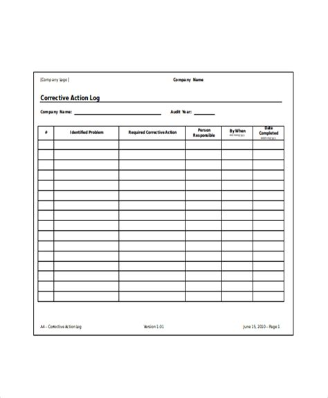 4 action log template free word excel documents