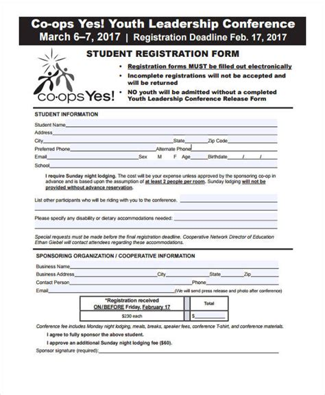 youth conference registration form template 21 conference registration forms
