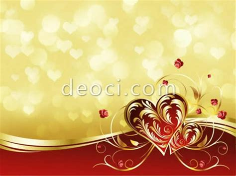 the romantic festive background of golden pattern heart
