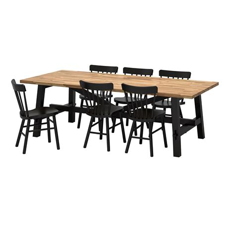Norr 197 Ker Skogsta Table And 6 Chairs Acacia Black 235x100 Ikea Dining Table And 6 Chairs