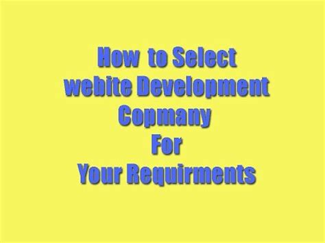 selecting web development company   business