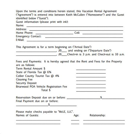 Sle Vacation Rental Agreement 7 Free Documents In Pdf Word Condo Rental Lease Template