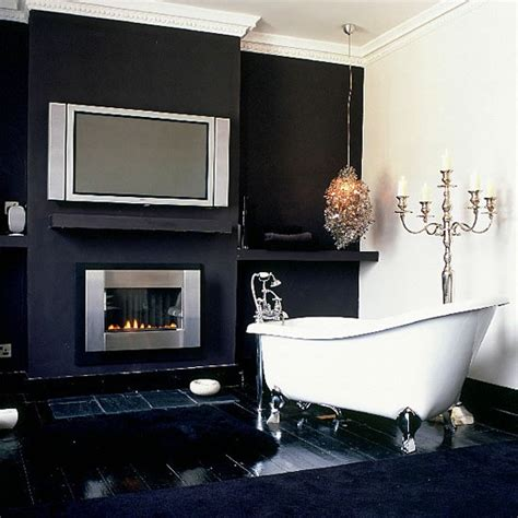 Glamorous Bathroom Lighting Black Glamorous Bathroom With Candelabra Bathroom Lighting Ideas Housetohome Co Uk