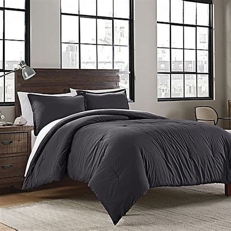 buy garment washed solid full queen comforter set in iron