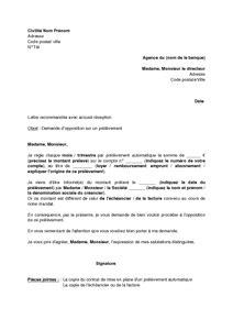 lettre d opposition sur un pr 233 l 232 vement bancaire mod 232 le