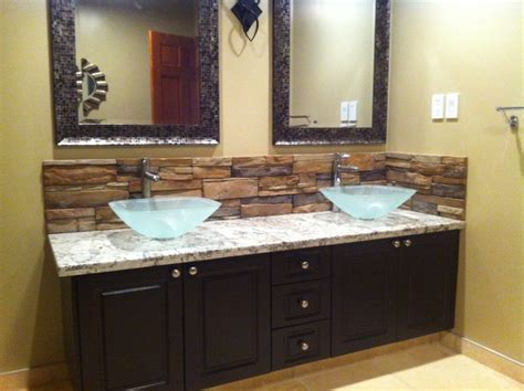 Glass Backsplashes For Kitchens by Bathroom Backsplash Mediterranean Bathroom Calgary