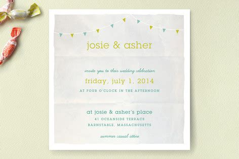 backyard tent watercolor wedding invitations by em minted