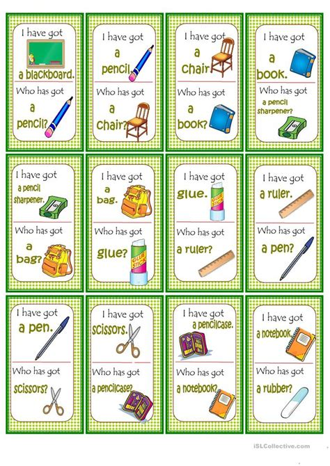 printable loop card games loop game school objects worksheet free esl printable
