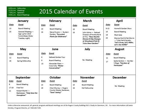 annual calendar of events template mgarc