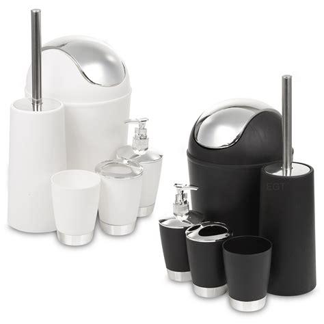 matching bathroom accessories sets 5 piece bathroom matching accessory set black white