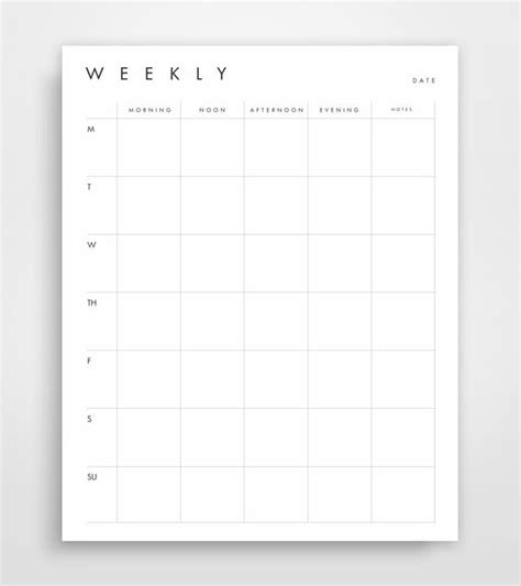 free printable weekly planner minimalist small businesses planners and business on pinterest