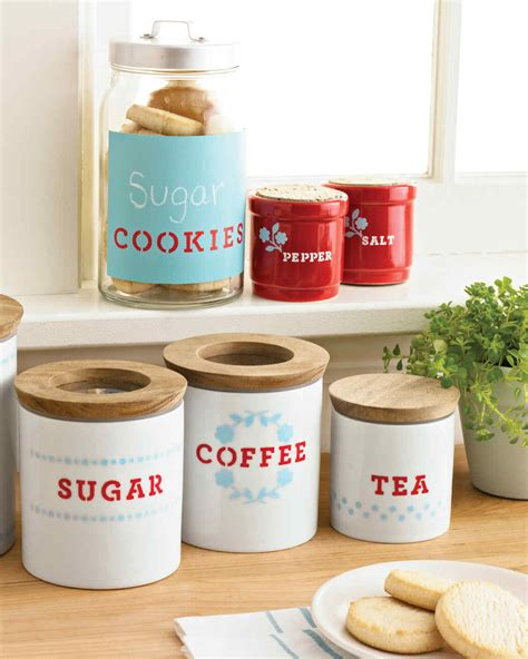 stenciled kitchen storage containers