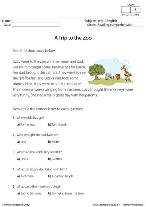 comprehension workbook year 3 1407141791 primaryleap co uk reading comprehension a trip to the zoo worksheet english printable
