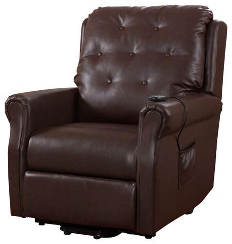 Vinyl Recliner Chairs by Pilaster Designs Brown Vinyl Tufted Design Power Lift