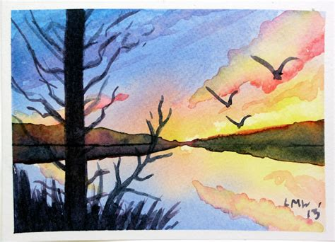 watercolor tutorial easy paint a lovely sunrise or sunset the frugal crafter blog