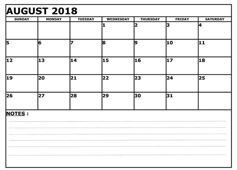 Printable Calendar 2018 With Lines