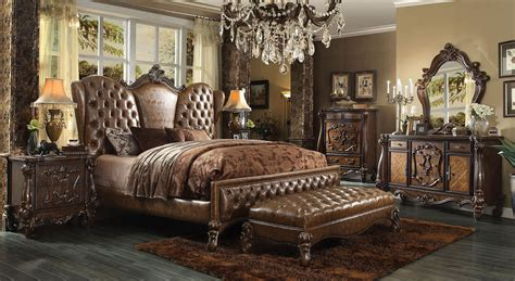 versailles bedroom set 4 piece versailles upholstered bedroom set in cherry oak