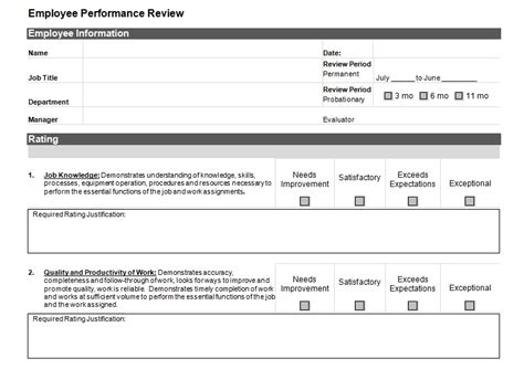 employee performance reviews templates simple employee performance review template excel and word