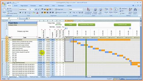 excel template schedule construction schedule template excel free