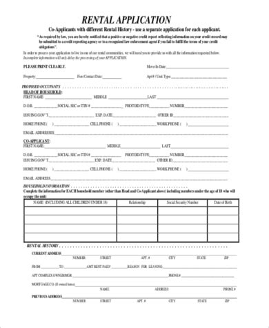 rent application sle 9 free documents in word pdf