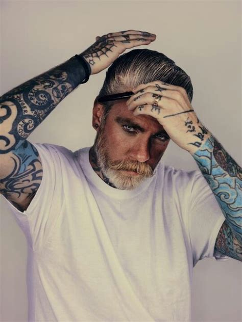 silver fox tattoo tattooed gentleman tattoos gentleman hair